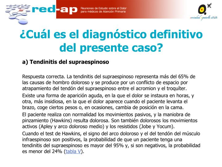 a) Tendinitis del supraespinoso