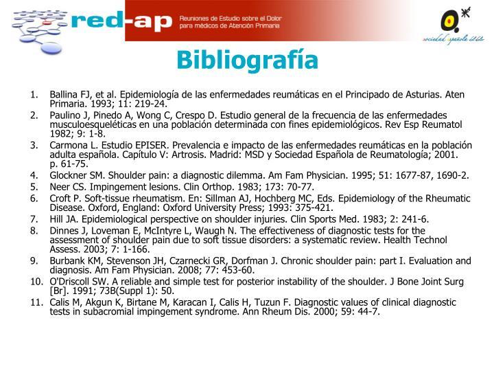 Ballina FJ, et al. Epidemiología de las enfermedades reumáticas en el Principado de Asturias. Aten Primaria. 1993; 11: 219-24.