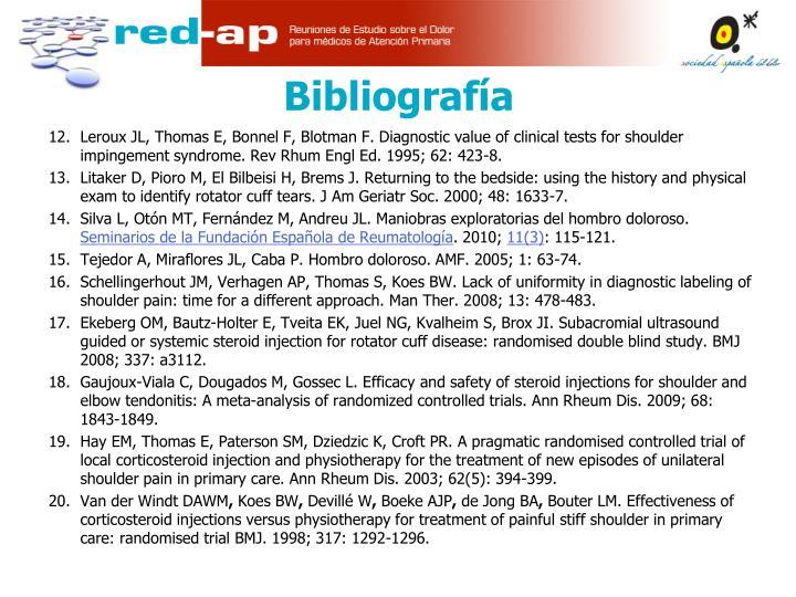 Leroux JL, Thomas E, Bonnel F, Blotman F. Diagnostic value of clinical tests for shoulder impingement syndrome. Rev Rhum Engl Ed. 1995; 62: 423-8.