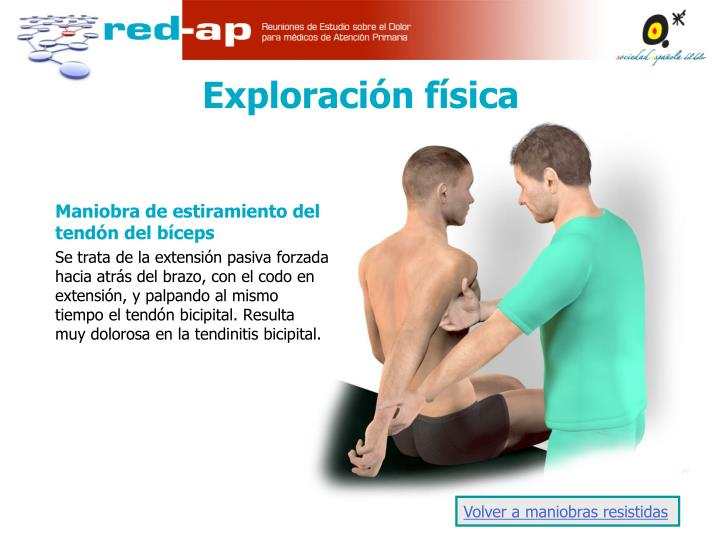 Maniobra de estiramiento del tendón del bíceps