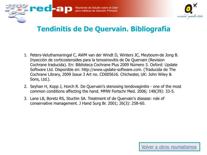Tendinitis de De Quervain. Bibliografía