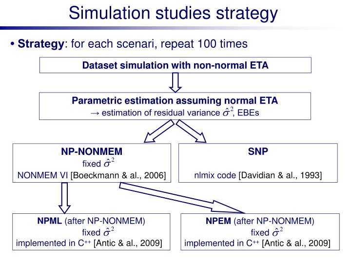 Simulation studies strategy