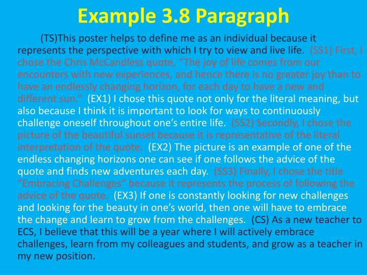 Example 3.8 Paragraph
