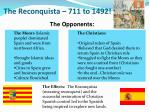 the reconquista 711 to 1492