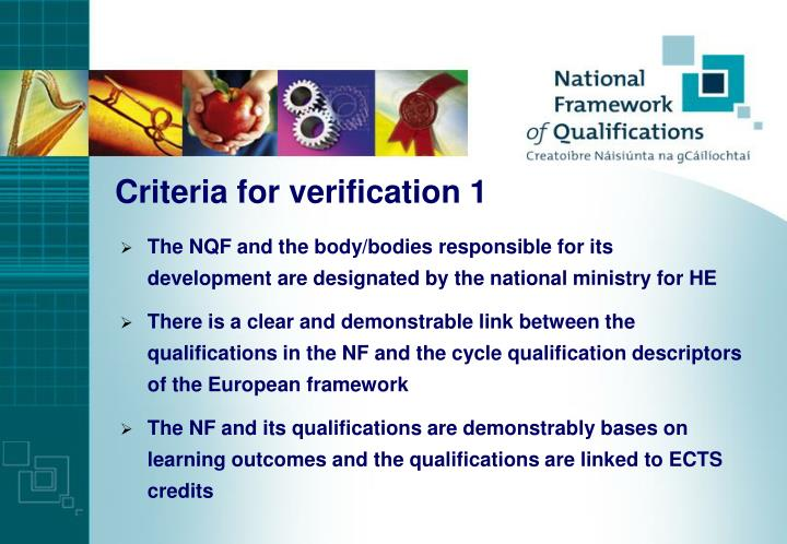 Criteria for verification 1