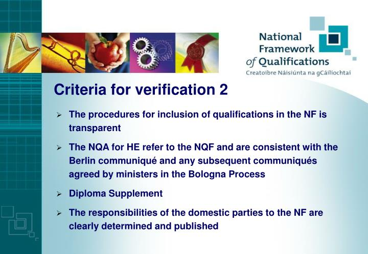 Criteria for verification 2