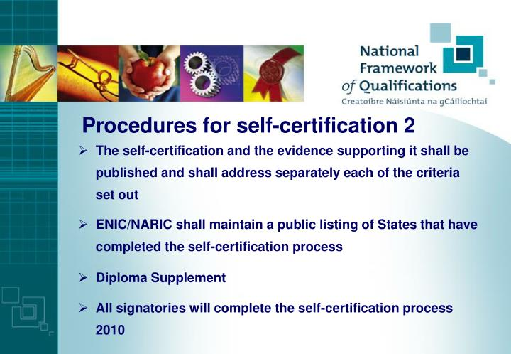 Procedures for self-certification 2