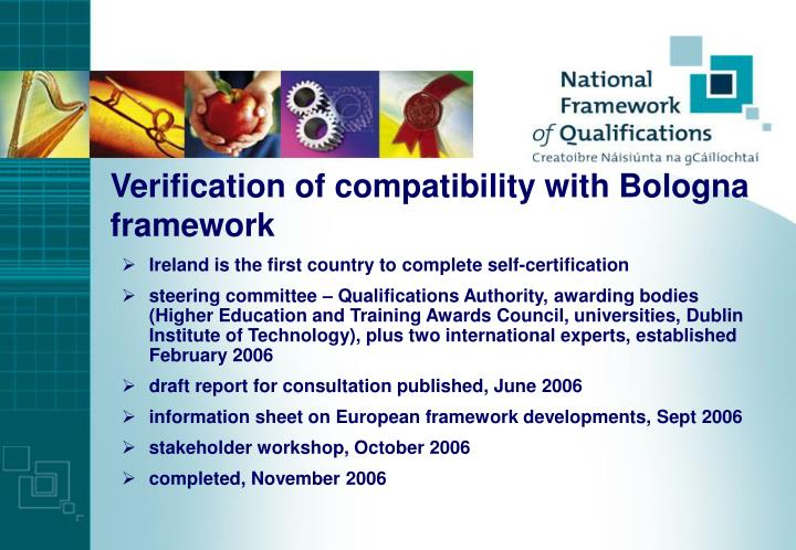 Verification of compatibility with Bologna framework