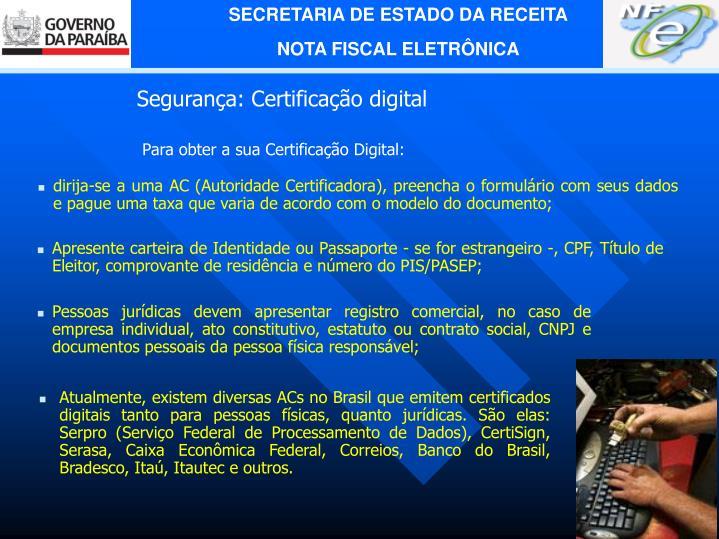 Segurança: Certificação digital