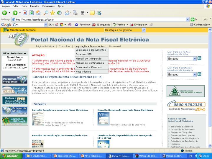 http://www.nfe.fazenda.gov.br/portal/