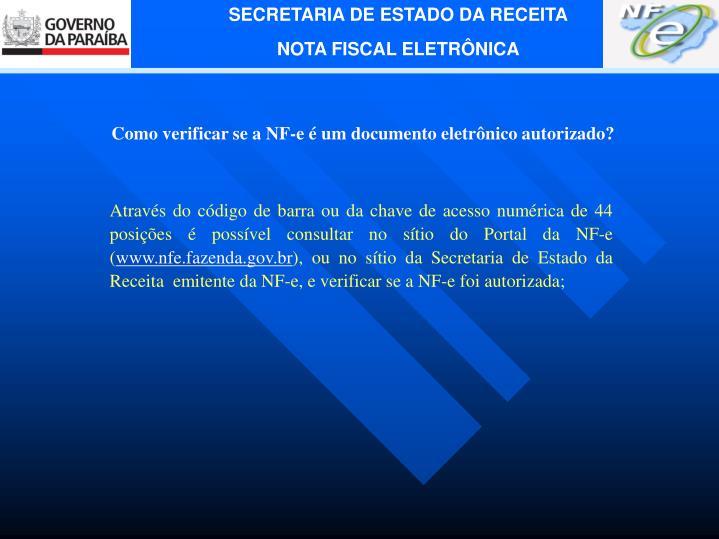 Como verificar se a NF-e é um documento eletrônico autorizado?