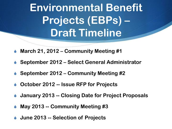 Environmental Benefit Projects (EBPs) –