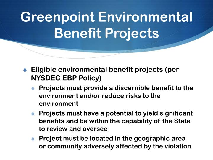 Greenpoint Environmental Benefit Projects