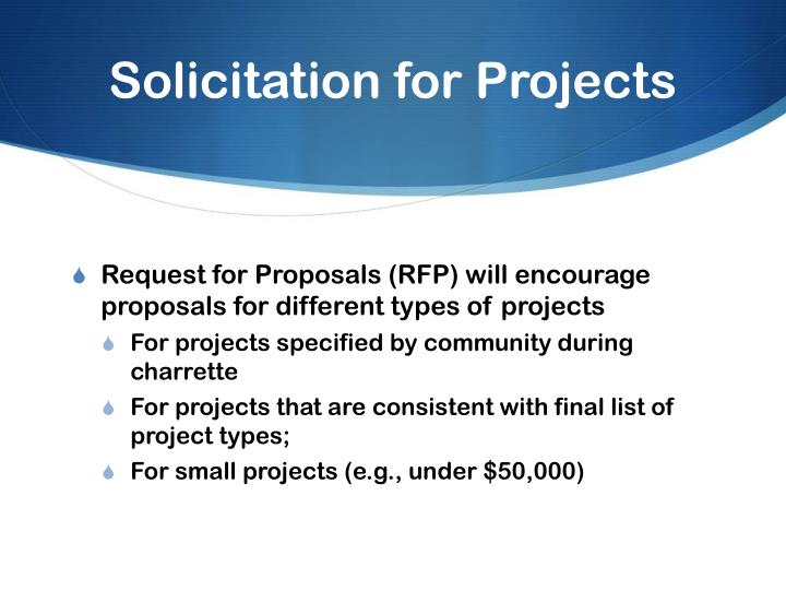 Solicitation for Projects
