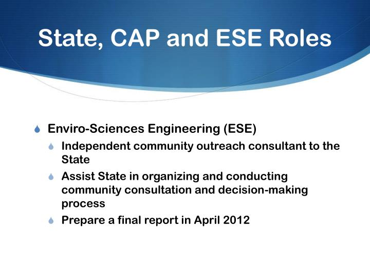 State, CAP and ESE Roles