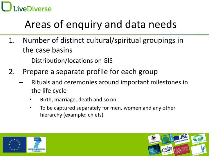 Areas of enquiry and data needs