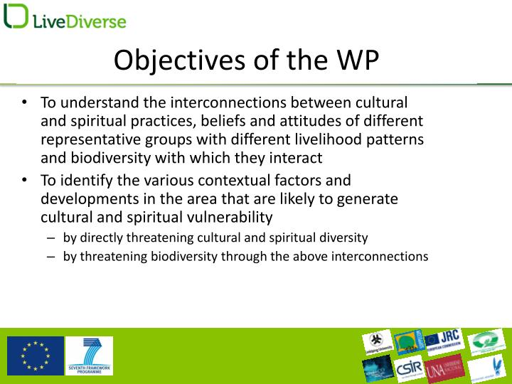 Objectives of the wp