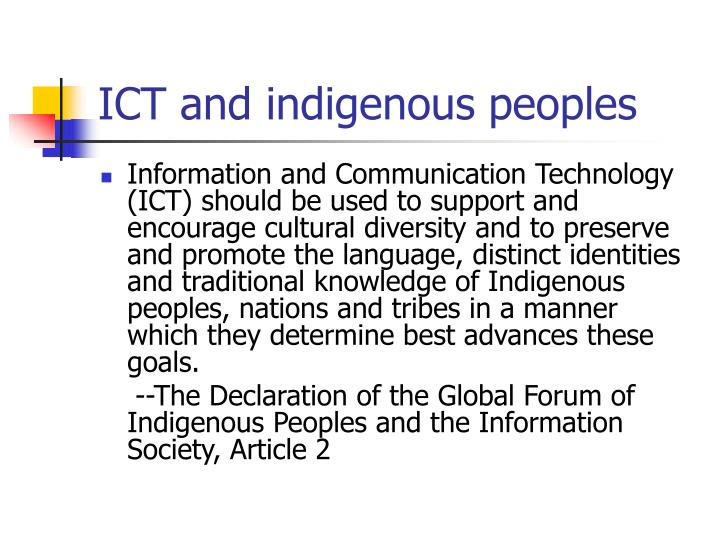 ICT and indigenous peoples