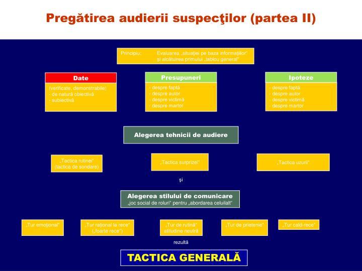 Pregătirea audierii suspecţilor