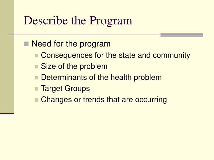 Describe the Program