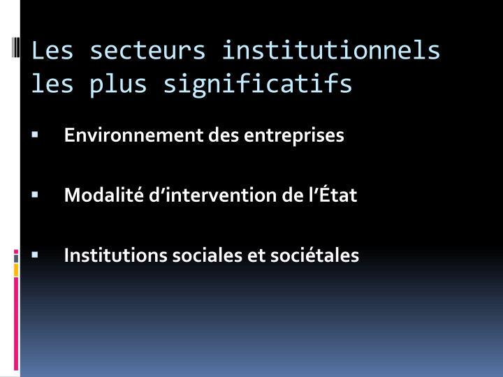 Les secteurs institutionnels les plus significatifs