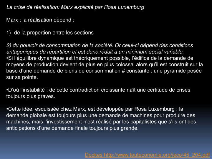 La crise de ralisation: Marx explicit par Rosa Luxemburg
