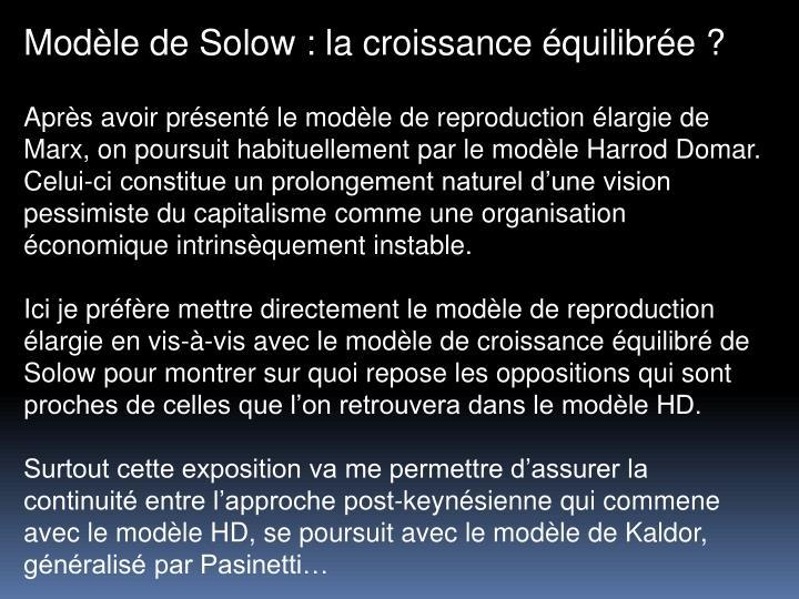 Modle de Solow : la croissance quilibre ?