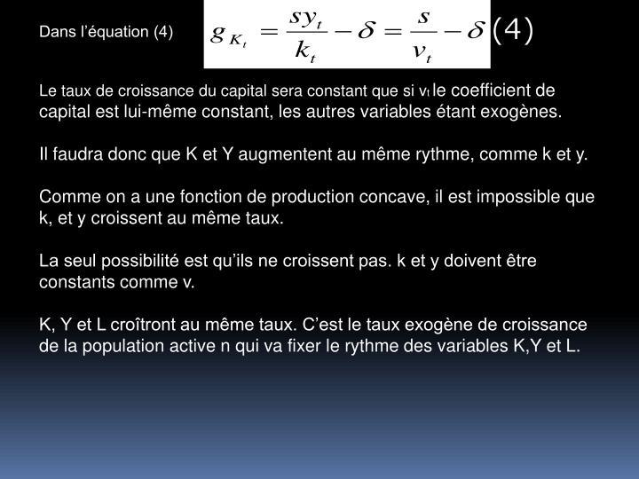 Dans lquation (4)