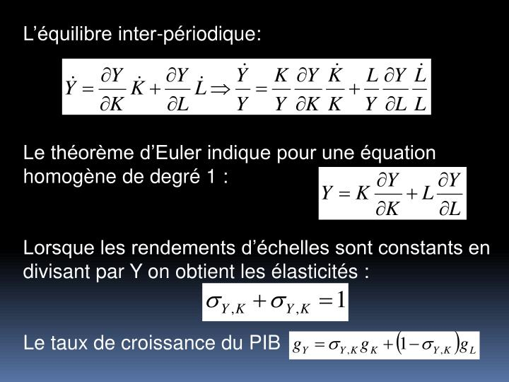 Lquilibre inter-priodique: