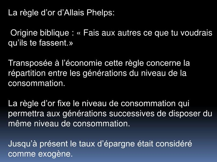 La rgle dor dAllais Phelps: