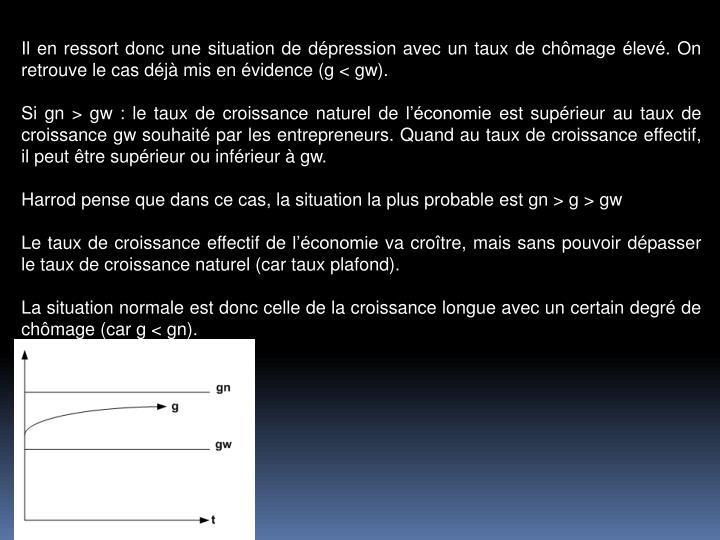 Il en ressort donc une situation de dpression avec un taux de chmage lev. On retrouve le cas dj mis en vidence (g < gw).