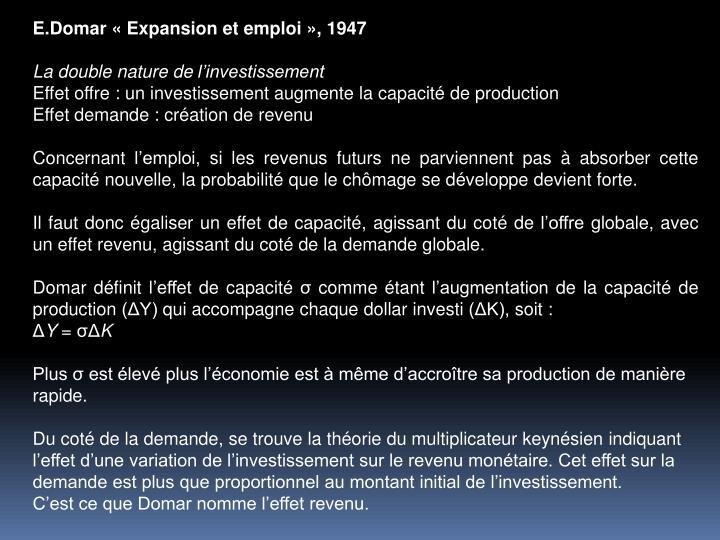 E.Domar Expansion et emploi, 1947