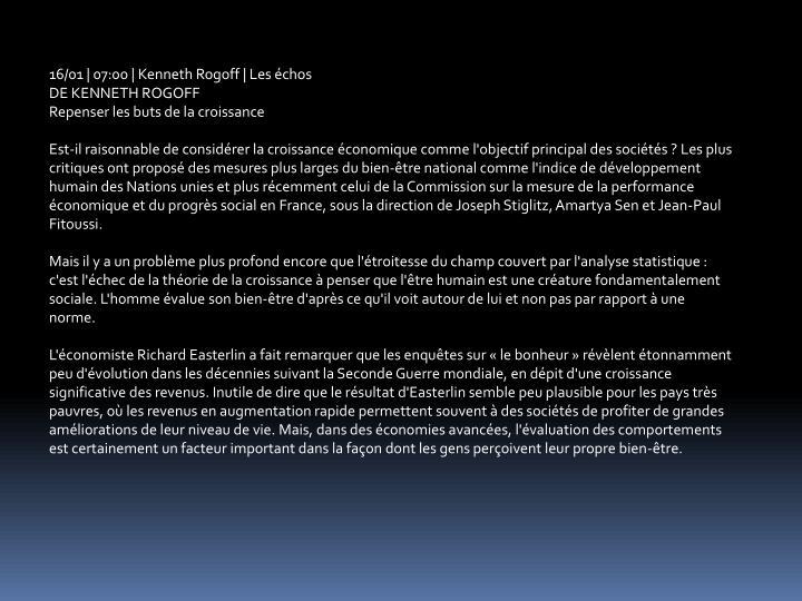 16/01 | 07:00 | Kenneth Rogoff | Les chos