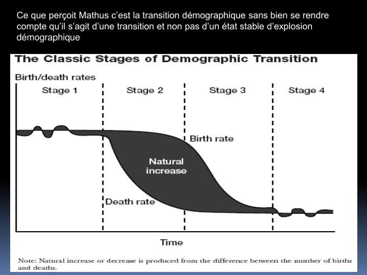 Ce que peroit Mathus cest la transition dmographique sans bien se rendre compte quil sagit dune transition et non pas dun tat stable dexplosion dmographique