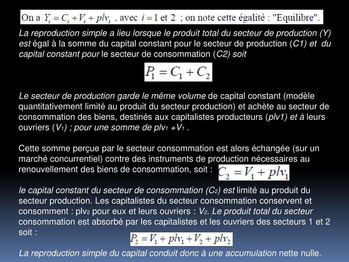 La reproduction simple a lieu lorsque le produit total du secteur de production (Y) est