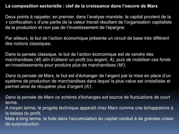 La composition sectorielle : clef de la croissance dans loeuvre de Marx