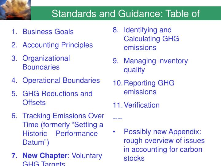 Standards and Guidance: Table of Contents