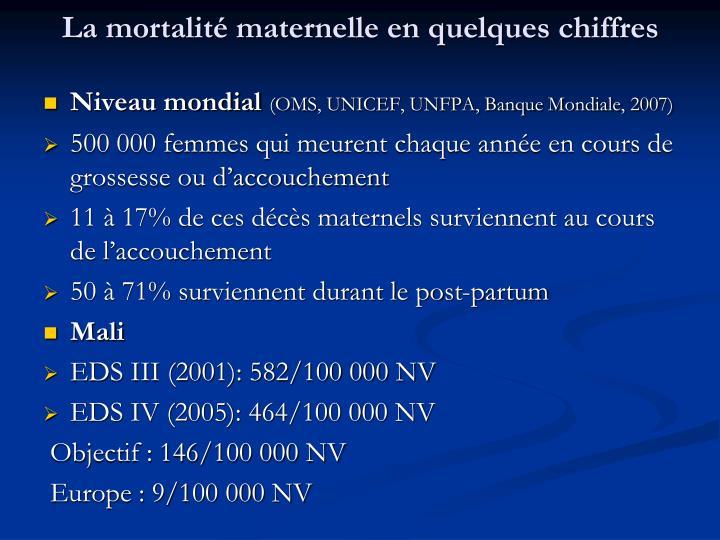 La mortalité maternelle en quelques chiffres