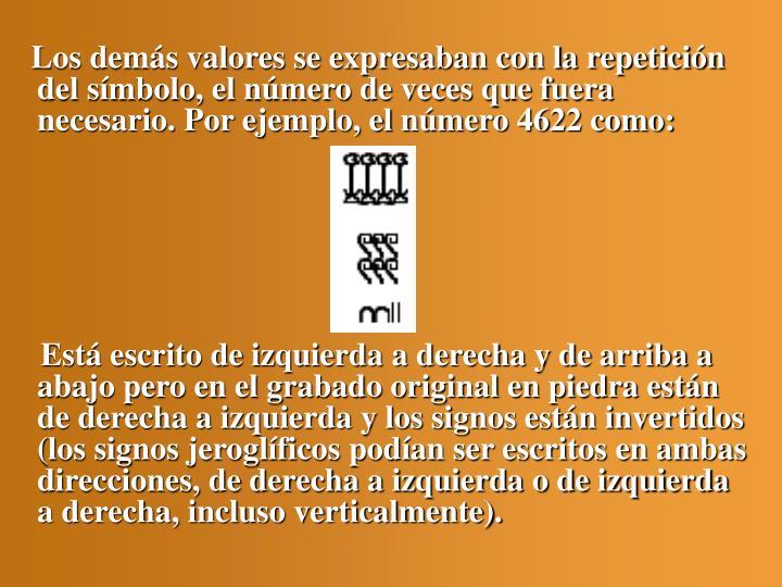 Los demás valores se expresaban con la repetición del símbolo, el número de veces que fuera necesario. Por ejemplo, el número 4622 como: