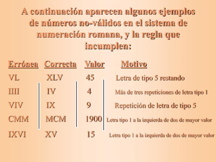 A continuación aparecen algunos ejemplos de números no-válidos en el sistema de numeración romana, y la regla que incumplen: