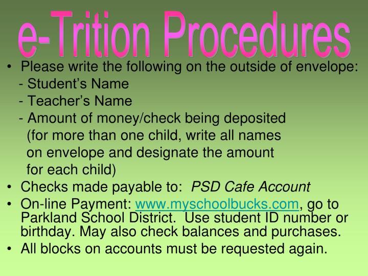 e-Trition Procedures