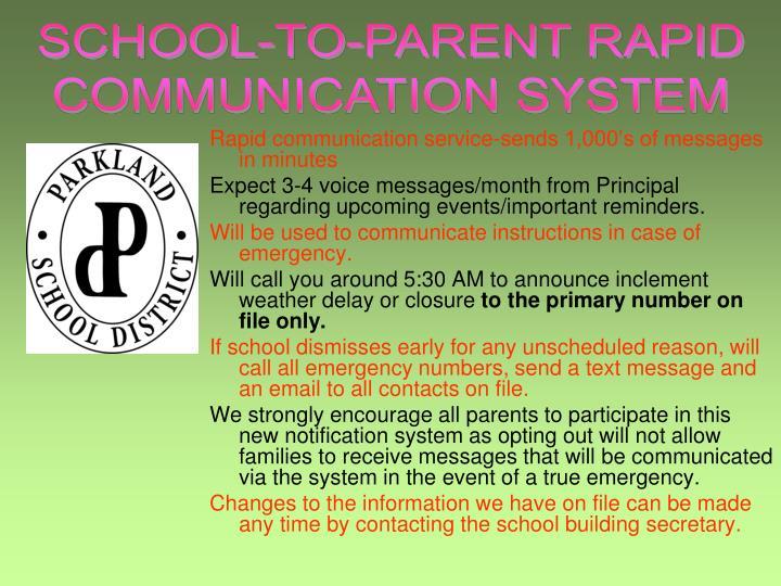 SCHOOL-TO-PARENT RAPID