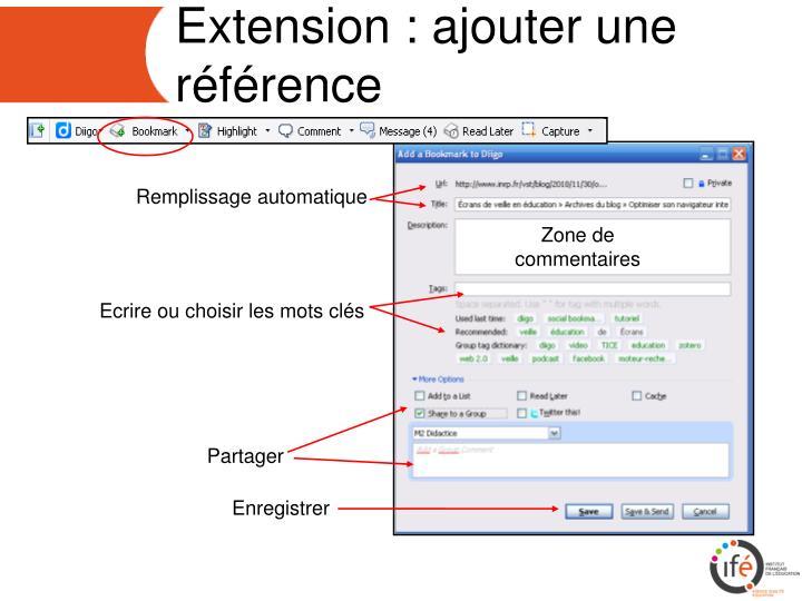 Extension : ajouter une référence