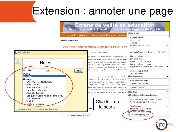 Extension : annoter une page