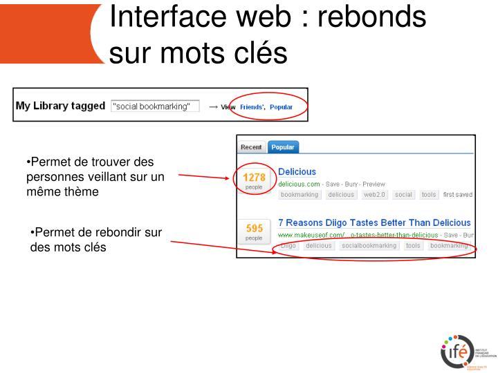 Interface web : rebonds sur mots clés