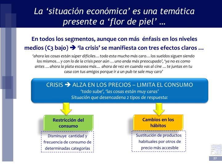 La 'situación económica' es una temática  presente a 'flor de piel' …