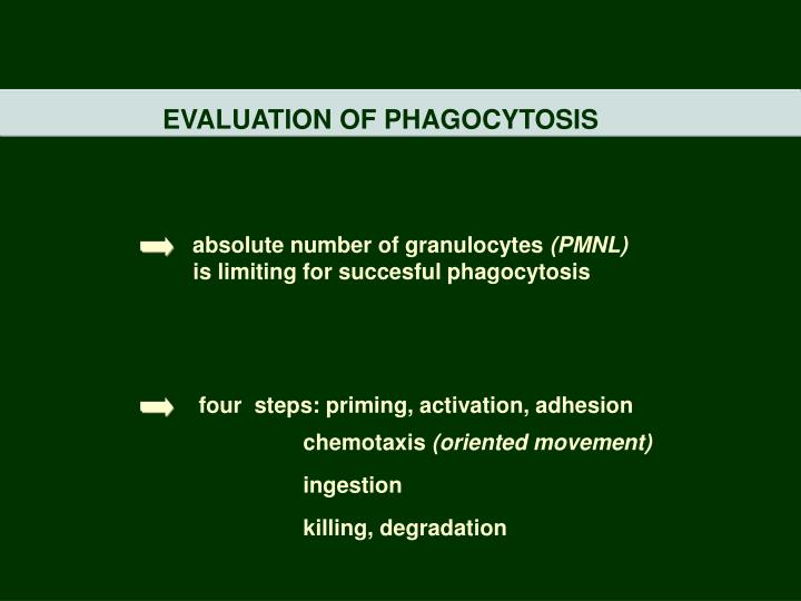 EVALUATION OF PHAGOCYTOSIS