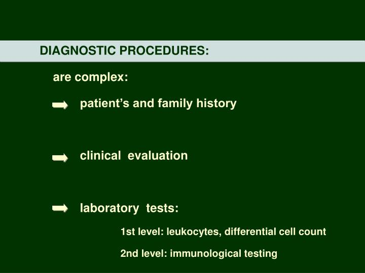 DIAGNOSTIC PROCEDURES: