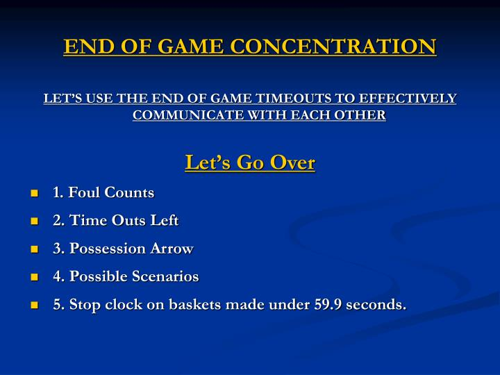 END OF GAME CONCENTRATION