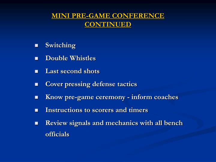 MINI PRE-GAME CONFERENCE